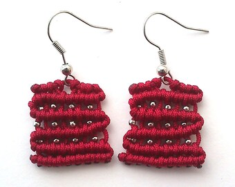 cute rectangle macrame earrings