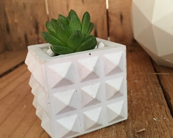 Mini studded cube concrete planter