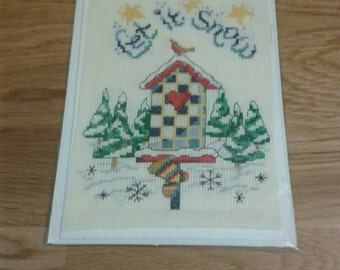 Stitched by hand Christmas card
