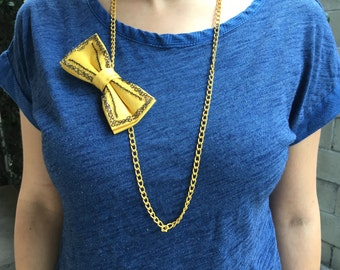 Yellow Long Necklace Bow tie for women\girls, bow tie with chains, Ladies Bow Tie