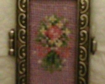 Reversible Locket with Petit Point Flower Bouquet Insert.