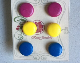Polymer clay earrings | teen earrings | clay studs | stud earrings | red, pink, yellow, blue, purple and black studs