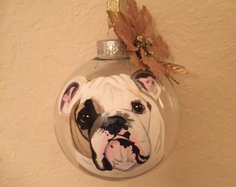 Custom English Bulldog Ornament, Custom Pet Ornament