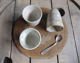 Iridescent white stoneware Cup