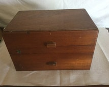 J.T. Swann & Co., Vintage 2 Drawer Wooden Dove tail, Cigar Box, Admirals of Tampa Florida, 1940's