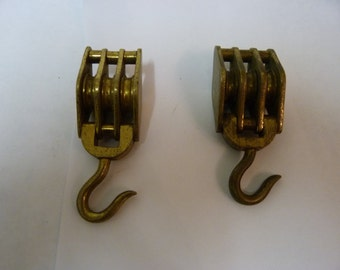 Vintage solid brass hinged triple block and tackle