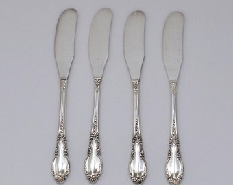 Vintage 1881 Rogers Enchantment Silver Butter Spreaders, Set of 4