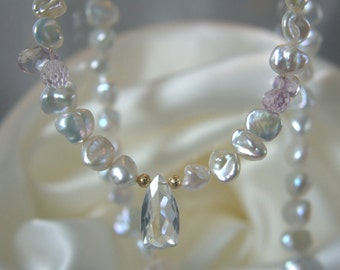 Keshi Pearl Amethyst rock Crystal Necklace pendant Keshi pearls Amethyst quartz gem necklace with quartz