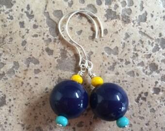 Cobalt, Yellow & Turquoise Earrings