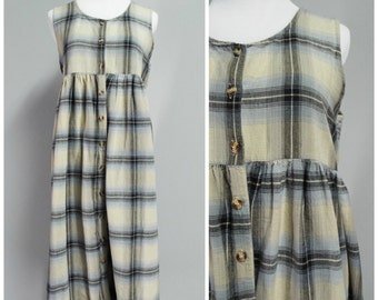 Vintage Womens 90s Plaid Cotton Babydoll Grunge Jumper/Sleeveless Dress