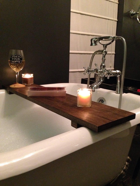 Rustic Bathtub Caddy Bath Tray Poplar Wood Clawfoot Tub Tray