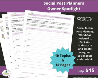 Social Media Planner - Owner Spotlight Social Post Planner - 15 Pages & 10 Topics to create evergreen social media content.