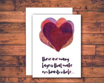 layers of your heart - sympathy card, grief card, bereavement card