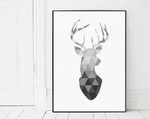 Geometric Deer Head, Scandinavian Print, Antler Poster, Triangle Deer Head Poster, Black And White Wall Art, Affiche Scandinave