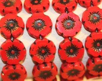 Czech Flower 12mm 12 Beads