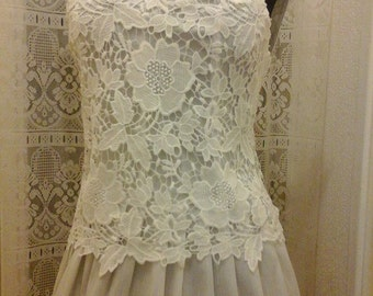Beautiful corset Top faux dupioni silk and lace crochet for ceremony or bride