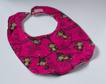 Baby Girl Bib, Monkey Bib, Pink Bib, Monkey Baby Bib, Pink Baby Bib, Baby Bib