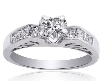 1.05 Carat G-VS2 Natural Heart Shape Diamond Engagement Ring 14K White Gold