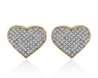 0.75 Carat Heart Shaped Diamond Earrings 10K Yellow Gold