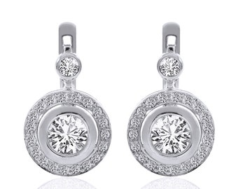 2.35 Carat Diamond Hoop Circle Drop Earrings 14K White Gold