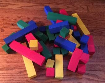 44 Asorted Pine Building Blocks, Building Blocks, Playblocks, Blocks