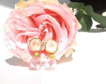 Rose Quartz Earrings/ Princess Earrings/ Gold Plated Sterling Silver Earrings