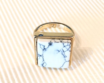 White Marble Ring/ Howlite Marble Ring