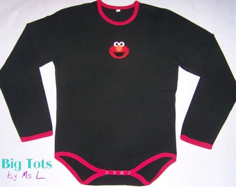 Adult baby  ELMO  bodysuit with snap crotch ABDL