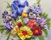 Silk ribbon embroidery Garden flowers - full kit