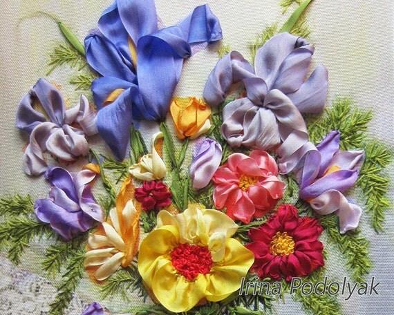 Silk ribbon embroidery garden flowers full kit