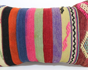 boho lumbar kilim pillow 16x24 Striped Pillow kelim kissen pillow cover Ethnic pillow Multicolour pillow handmade kilim rug SP4060-232