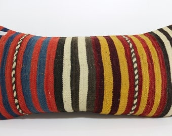 12x24 Bedding Pillow Boho pillow turkish striped kilim pillow throw pillow 12x24 cushion cover multicolour pillow home decor SP3060-649