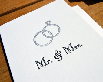 Mr. & Mrs. - Engagement  Letterpress Card