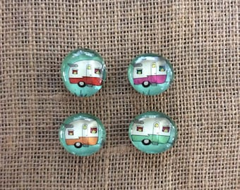 Retro camper glass magnet set/ for happy campers/fridge decor/ office decor/locker decor/ perfect thank you gift/ just a lil something