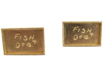 "Vintage Dante Gold Tone Cuff Links ""Fish & Dog"""