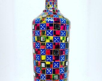 boho lamp,Bohemian Hanging Lantern,bottle lamp,shadow lamp,gypsy decor,gypsy lamp,glassart,home decor,stained glass lantern,boho wedding