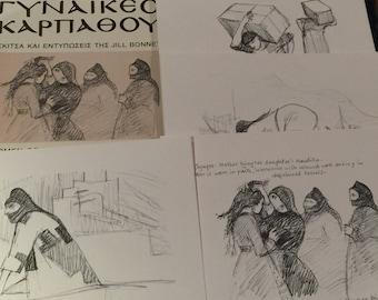 Rare Greek Book WOMEN OF KARPATHOS Island Greece Drawings by Jill Bonnet Art Painting Greek -English