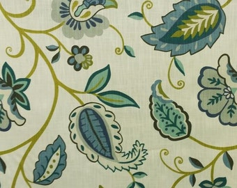 Curly Twist Indigo Blue Cotton Floral Drapery Fabric by the Yard