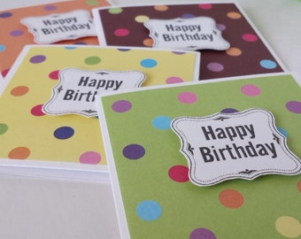 Rainbow Spots Mini Card Set, Happy Birthday Minicards, Gift Tags, Birthday, Mini cards with envelopes, Child  Card, set of 4, ready to ship