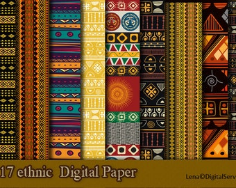17 ethnic African Digital Paper INSTANT DOWNLOAD 12x 12 inch scrapbook decoupage tribal printable