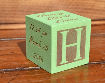 Personalized Baby Block New Baby Gift Newborn Baby Block Personalized Baby Gift Newborn Gift Wooden Baby Block Baby gift idea