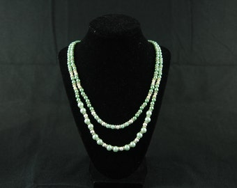 Mint and Silver Double String Necklace