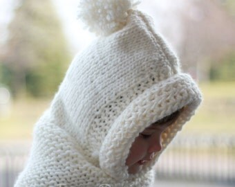 Knitting pattern, Patron tricot – Bambi  Hooded Cowl Hood (12/18 month - Toddler - Child – Teen- Adult sizes)