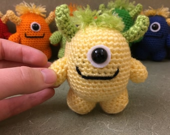 Made to Order - Yellow Monster, Crochet Monster, Amigurumi Monster, Monster Plush, Crocheted Stuffed Animal, Little Monster, Cute Monster