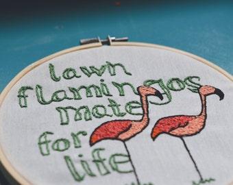 Lawn Flamingo Hoop Art Pink Embroidery