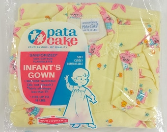 Mid Century Vintage Baby Night Gown Woolworth's Yellow with Pink Bunnies