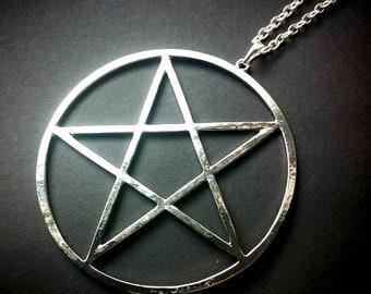 Large Silver Pentagram Necklace