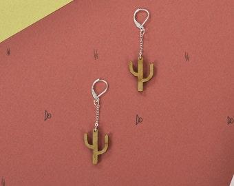 Wood WOODEARZ Cactus chained earrings