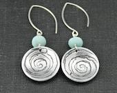 Swirling Circle Dangle Earrings
