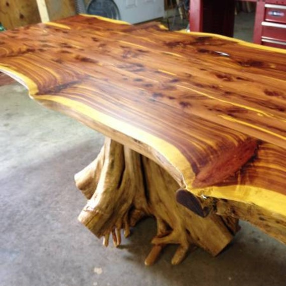 Stump Table, Rustic Table, Live Edge Table, Cedar Table, Dining Table